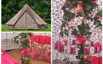 Our stunning dressed leopard print tent is a must see