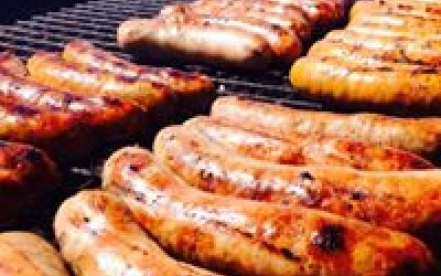 Charcoal cooked sausages