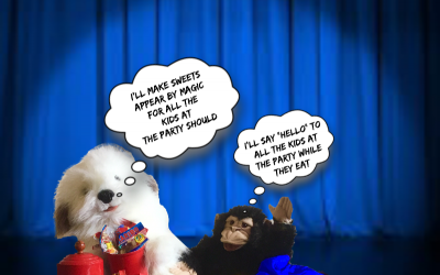 Andy's Magic, Puppets, Charlie the Monkey, Max the Magic Dog