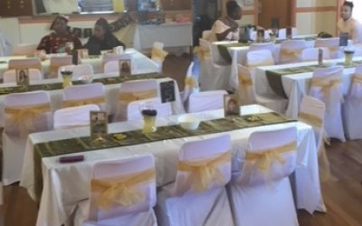 40th black and Gold party set up.
