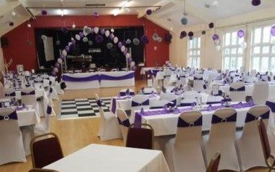 A purple wedding setup.