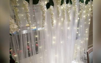 Floral, tulle backdrop
