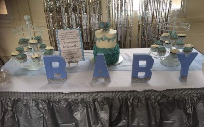 Baby shower display set up.