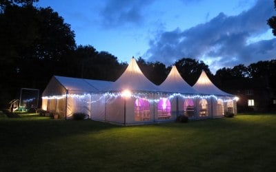 Pagoidas linked to frame marquee with halogen uplighting