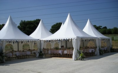 Pagoda marquees on hard standing