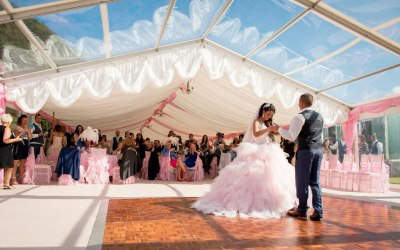 Wedding tent with clear roof panels