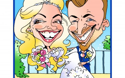 Full colour studio caricature of bride and groom from photos