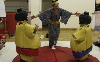 a children's indoor sumo party