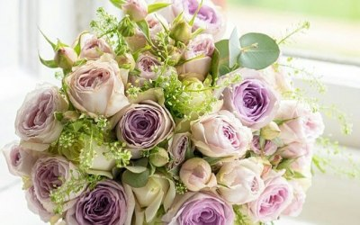 Lilacs and pastal Roses
