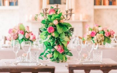 Romatic classic styling of the venue and chic floral arragements