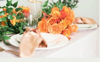 Chic table styling and a foliage Table runner/garland
