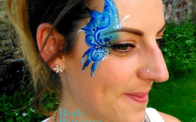 Pretty adult butterfly eye design face painting Bath Bristol