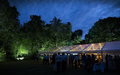 Clear Roof Marquee with fairy light canopy with external lighting