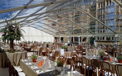 Summer wedding is a spectacualr location under clear roofs.