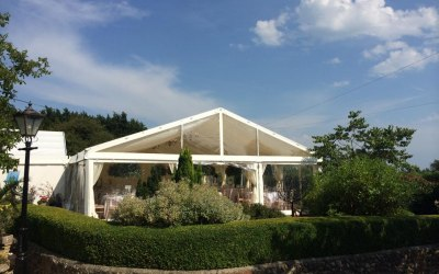 A 9m wide clearpsna marquee with a clear gable