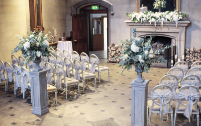 Ceremony Set Up at Matfen Hall with our Stone Urns and Pedestals