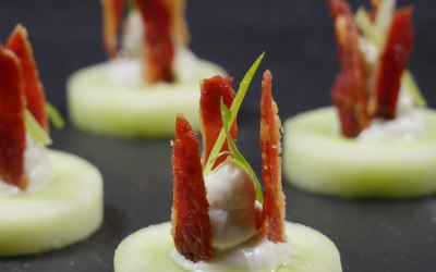 Cucumber Cups with Blue Cheese & Bacon