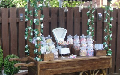 Our rustic Sweet Shop Candy Cart