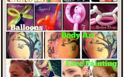 Glitter Art, Balloons, Bump and Body Art