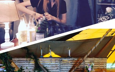 Our pop up bars, and barmaid Kayleigh