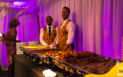 Buffet and waiting staff at a wedding