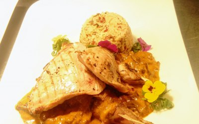 Game Curry -  Pheasant leg and offal curry with grilled breast and pilau rice