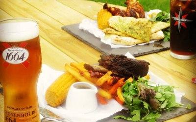 Smoked beef short rib dish and smoked chicken dish
