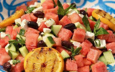 Fresh watermelon salad for a summer party