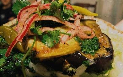 Grilled Aubergine ans sweet potato hummus with Sumac onion zhug and zaatar
