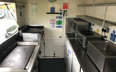 Inside our catering trailer