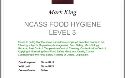 My hygiene certificate level 3