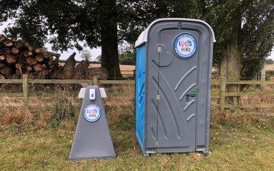 Handistand & Blue Portable Toilet