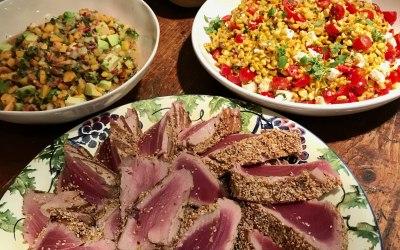 seared sesame tuna charred sweetcorn salad and mango / avocado salsa