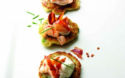 Pea blinis with lobster and pancetta