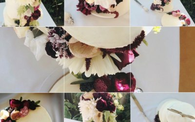 Edible flowers wedding cake With matching grooms cheesecake