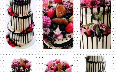 Semi Naked Berries & Edible Bloom cake