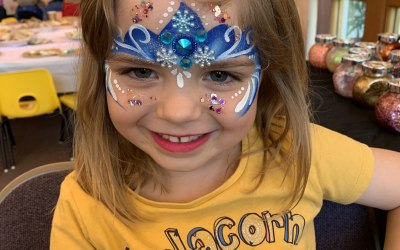Over the rainbow face painting and glitter  4