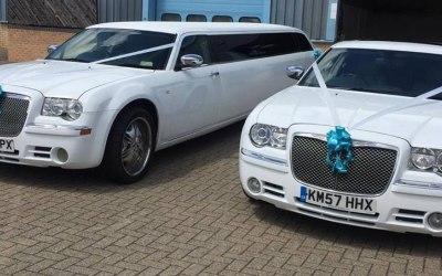 white Chrysler limo wedding