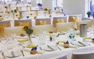 Chair covers and gold sashes