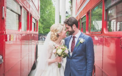 Red bus love for Gabby & Neil at St Pauls Cathedral