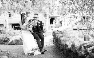 Kirsty and Kenny having a laugh on the wedding swing