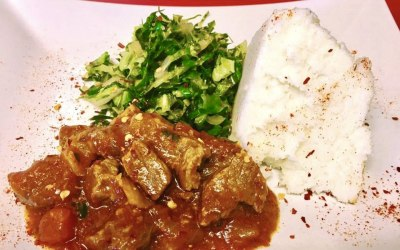 Ugali vegetable and chicken stew