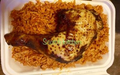 Jollof rice with African style chicken