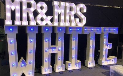 Mr & Mrs letters and words for weddings