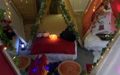 Woodland sleepover tents