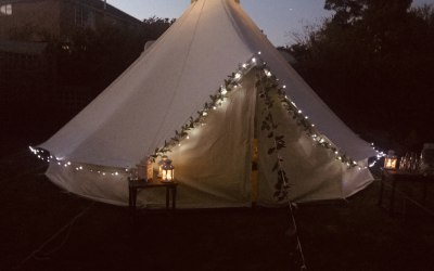 Night time twinkling bell tent
