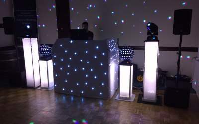 White Starcloth wedding setup