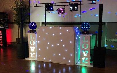 A typical wedding disco setup