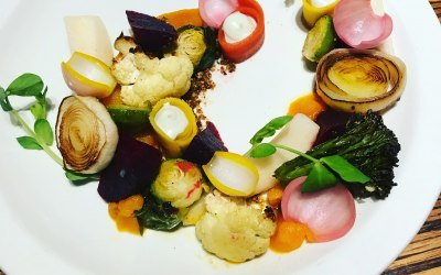 Salad of Charred and Pickled Vegetables with Goat's Cheese Cream