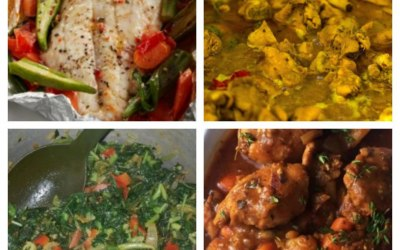 Just afew of the dishes availiable top left Steamed Seabass and okra, top right chicken curry